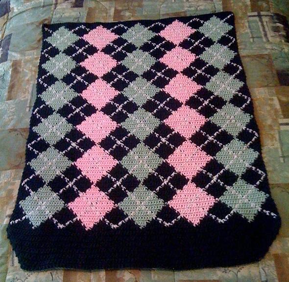 Argyle Crochet Afghan Pattern : Crocheted Names - Green Argyle